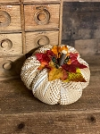 Handmade Chenille WhiteP umpkins with Leaves 5