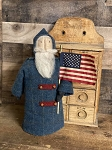 Handmade Santa in Blue Wool Coat with Americana Patriotic Flat 16