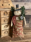 Handmade Snowman in Burlap Bag Hang or Sit 15