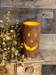 Timer Jack O Lantern Pumpkin Pillar Candle Battery Operated 6