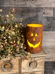 Timer Jack O Lantern Pumpkin Pillar Candle Battery Operated 5