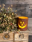Timer Jack O Lantern Pumpkin Pillar Candle Battery Operated 4
