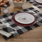 Wicklow Buffalo Check Yarn Placemat - Black & Cream