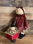 Handmade Snowman Gal with Wheelbarrow 16