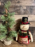 Primitive Handmade Snowman with Pocket of Florals 14