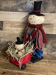 Handmade Snowman with Wheelbarrow 20