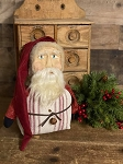Primitive Handmade Santa with Sculpted Face in Ticking Feed Sack 11