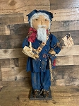 Handmade Primitive soldier Americana Doll on Stand 27
