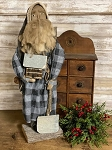 Santa in Gray Buffalo Check with Shovel and Log Cabin 22