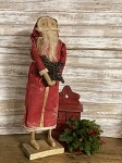 Handmade Primitive Santa in Red 25