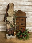 Santa in Plaid with Tree and Log Cabin 22