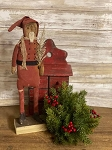 Handmade Primitive Red Santa on Stand 15