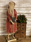 Handmade Primitive Santa in Red 28