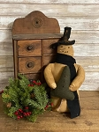 Handmade Primitive Snowman with Scarf and Tree 14