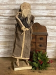 Handmade Primitive Santa in Brown with Star 25
