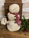 Handmade Primitive Snowman with Skates 12