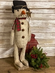 Handmade Primitive Fuzzy Snowman on stand 23