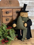 Handmade Primitive Snowman with Black Coat and Tree 14