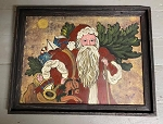 Hand Painted Santa Holiday Artwork Painting by Kathy Graybill