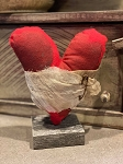 Handmade Red Heart with Cheesecloth on Stand 9