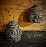 Handmade Wax Bee Skep Hive Ornament
