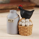 Milk Can/Basket of Egg with Chicken