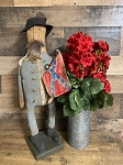 "23"" tall handmade confederate soldier on stand"