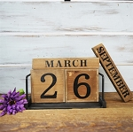 TABLETOP TIN AND WOOD VINTAGE CALENDAR