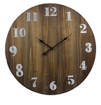 Wood Wall Clock with Tin Numbers
