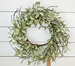 24in Sage Leaves with twigs Wreath