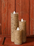 Rustic Timer Battery Operated Moving Flame Candles Serene Slim Line