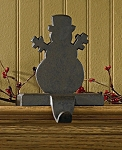 Snowman Stocking Hanger - Iron Finish