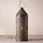 22-Inch Chimney Lantern Accent Light in Blackened Punched Tin
