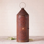 22-Inch Chimney Lantern Accent Light in Rustic Punched Tin