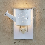Watering Can Night Light - Distressed White