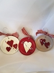 Handmade Heart Mason Jar Lid Ornaments with Wire Hanger