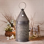 27-Inch Blacksmith's Lantern Accent Light with Chisel in Blackened Punched Tin