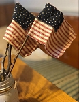 Handmade Primitive American Patriotic Flag on Stick 12