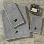 Gray Terry Hand Towel with Black Star