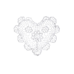 Crochet Heart Doily - White - 6 inches