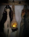 Gourd Lantern with Settlers Grass and Battery Tea Light