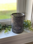 CAN LANTERN LARGE GRAY CANDLE HOLDER
