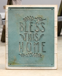Bless This Home Vintage Blue Metal Cutout Sign