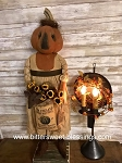 Primitive Handmade Pumpkin Witch Girl with Mouse 30