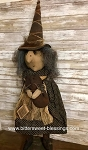 Primitive Handmade Witch Holding Owl 40