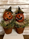 Primitive Handmade Large Gourd Witch Pumpkin Pots 13