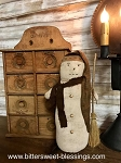 Reed Primitive Snowman with Broom 12