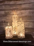 Gold Swirl Glitter Battery Operated Acrylic Candles 6