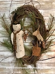 Snowman Shovel Mittens Wreath by Olde Time Santas Primitive Handmade