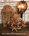 Handmade Floral Arrangement in Container with Scarecrow